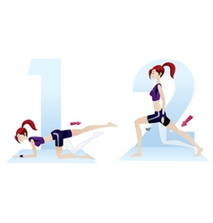 beautiful woman doing exercises sequence numbers vector image