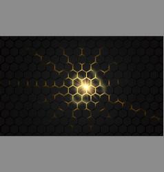 black hexagon honeycomb 3d gold light background vector image