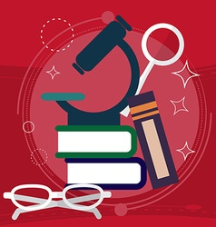 Book with Science and Nature Study Symbols vector image