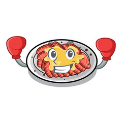 Boxing carpaccio is served on cartoon plates vector