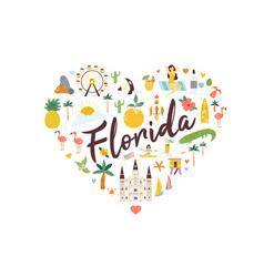 bright abstract design with florida famous places vector image