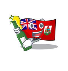 Bring beer flag bermuda cartoon on pole vector