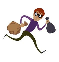 burglar running icon cartoon style vector image