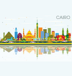 Cairo egypt skyline with color buildings blue sky vector
