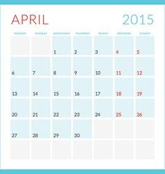Calendar 2015 flat design template April Week vector