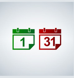 calendar icon set 31 1 vector image