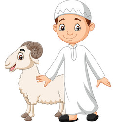 cartoon muslim boy holding a goat vector image