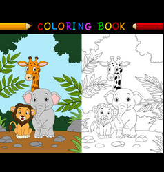 cartoon safari animal coloring book vector image