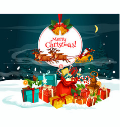 Christmas greeting card with santa gift in snow vector