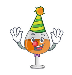 Clown cognac ballon glass mascot cartoon vector