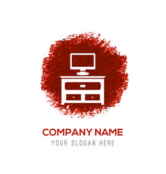 Computer table icon - red watercolor circle splash vector