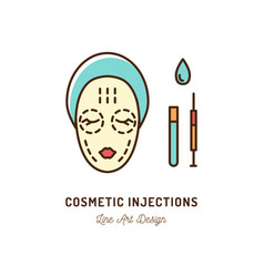 Cosmetic injections beauty injections thin line vector