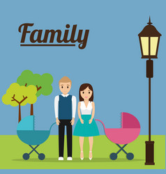 Couple with baby carriage family concept vector