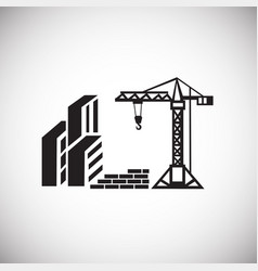 Crane on construction yard on white background vector