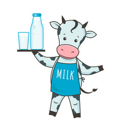 Cute dairy cow cartoon character in kawaii style vector