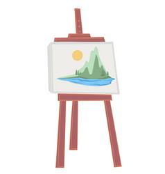 Easel with landscape painting mountains and river vector