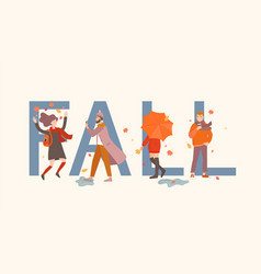 fall word with people in front it vector image