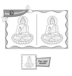 Find 9 differences game buddha vector