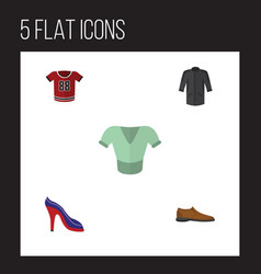 Flat icon garment set of uniform heeled shoe vector