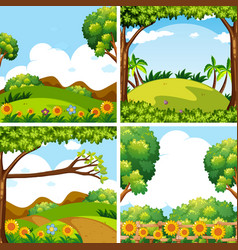 Four nature scenes with trees and fields vector
