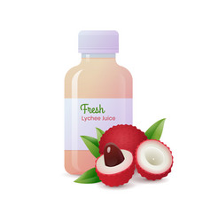 Fresh lychee juice bottle and ripe fruits vector