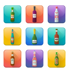 glossy alcohol bottles icons set vector image