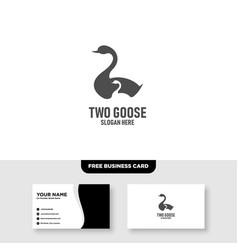 Goose logo template free business card mockup vector