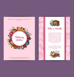 hand drawn sewing card flyer or brochure vector image