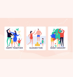 happy family pastime colorful banner vector image