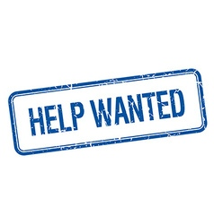 Help wanted blue square grungy vintage isolated vector