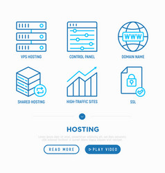 Hosting thin line icons set vps domain name vector