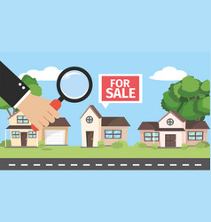 Houses property for sale and businessman with vector