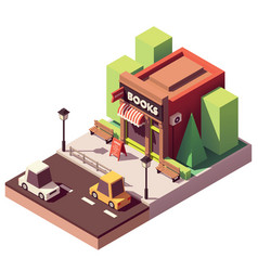Isometric bookshop vector