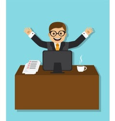 joyful businessman sitting behind a desk vector image