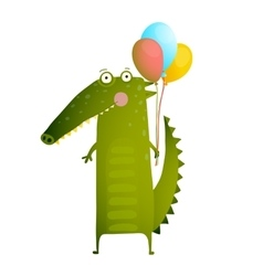 Kids Watercolor Style Crocodile with Balloons vector