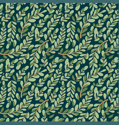 leaf autumn seamless with flower pattern vector image