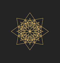 Linear geometric ornament on black background vector