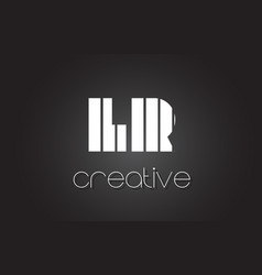 Lr l r letter logo design with white and black vector