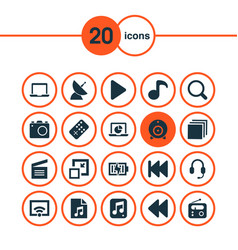 media icons set with laptop earphone charging vector image