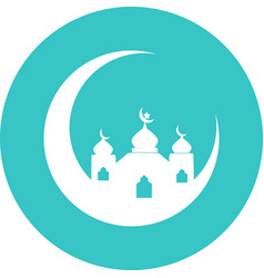 Mosque in green circle icon vector