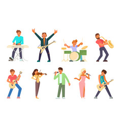 Musicians and singers flat icon set vector