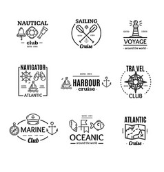 nautical emblem badges or labels line art set vector image