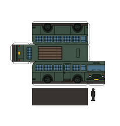Paper model of an old prison bus vector