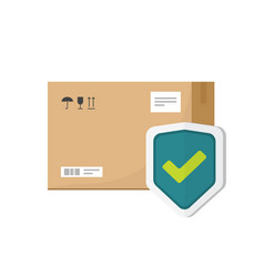 parcel box protected with shield symbol vector image