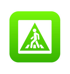 pedestrian road sign icon digital green vector image