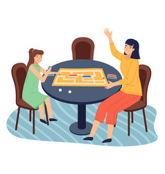 People playing in table game with cards labyrinth vector