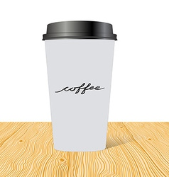 Plastic cup of coffee with hand drawn inscription vector