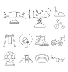 Playground entertainment outline icons in set vector