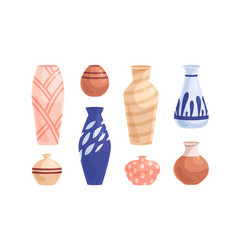 pottery and earthenware set crockery objects vector image