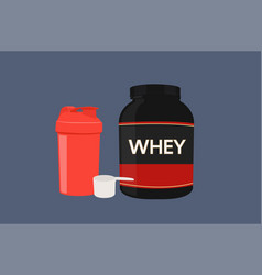 Protein shaker scoop and a whey bottle vector